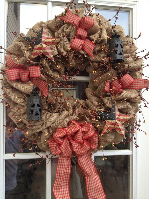 Burlap Wreath Primitive Wreath Americana Wreath The Red