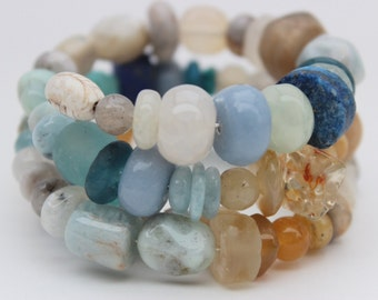 Ancient Beads and Gemstone Bracelet, Blues and Sand Colors
