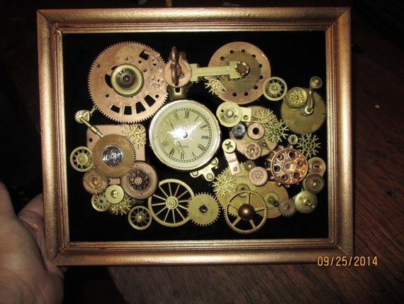 steampunk art framed metal gears watch parts collage hanging. Black Bedroom Furniture Sets. Home Design Ideas