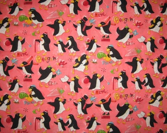 Nancy Wolff Designs Playful Penguins Fabric pink