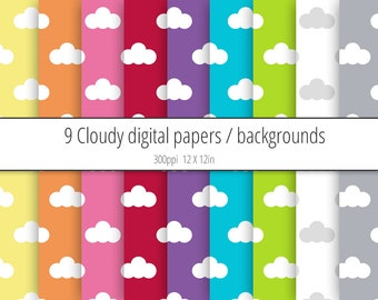 Printable Clouds Digital Paper Pack / Backgrounds - Weather, Sky, Cloudy - Scrapbooking, Digital Wallpaper - INSTANT DOWNLOAD