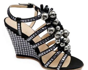 Jewelry - black satin wedge sandal