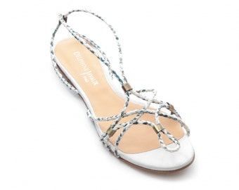 Sandal with frogged braided leather & Liberty - ivory