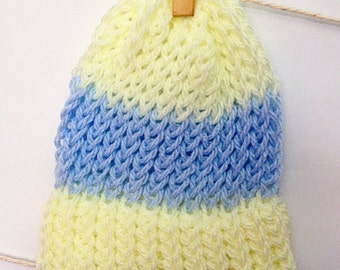 Baby Blue and Yellow, Striped Baby Hat Set