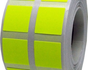 "1,000 Fluorescent Neon Yellow Stickers | Small 1/2"" Inch Square Adhesive Labels"