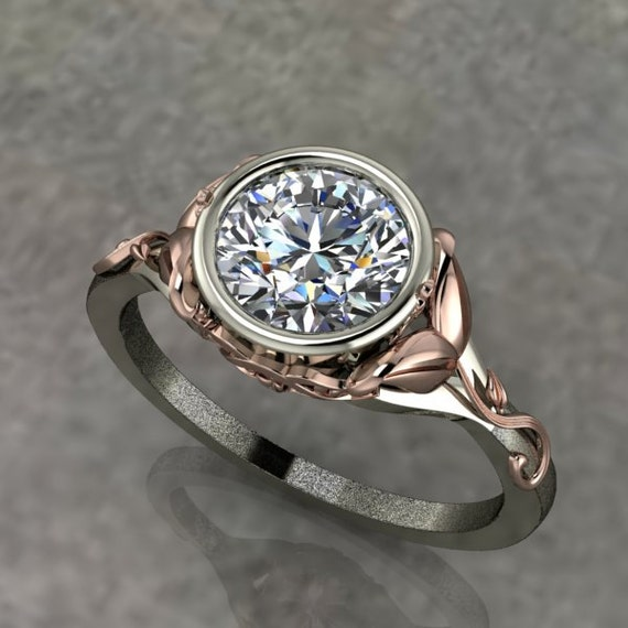 Two Tone Engagement Ring with Rose Gold Floral by dtekdesigns