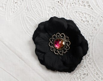 Black Flower Hair clip with iridescent jewel center