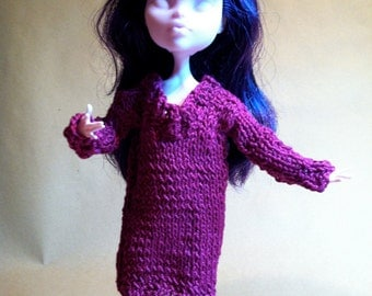 BALANCES -30%! Sweater dress in fuchsia pink cotton doll Monster High (the price reflects the reduction)