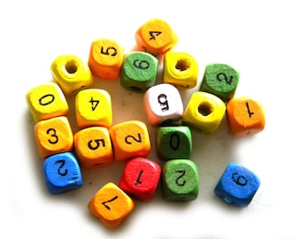 10 Wooden Number Beads