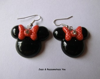 Handcrafted Minnie Mouse Red Bow Earrings