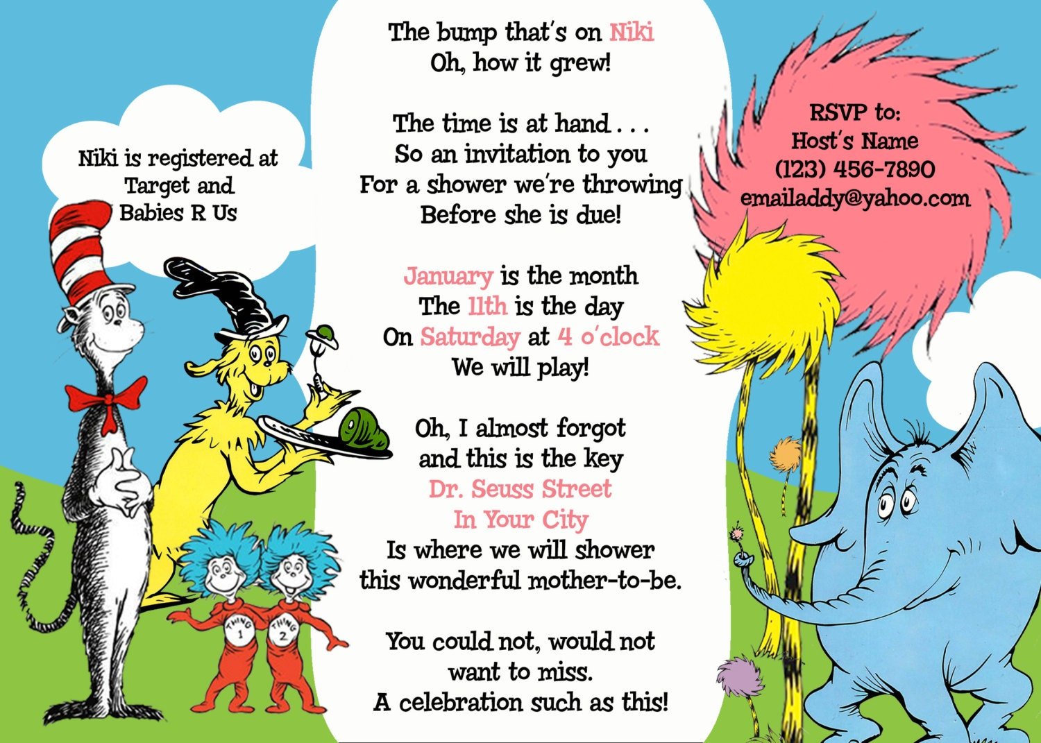 Dr Seuss Baby Shower Printable Invitation By SWAKStudio On Etsy