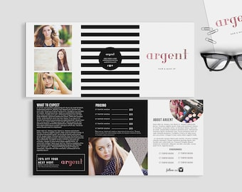 Argent double sided  5 x 7 trifold brochure- Instant download