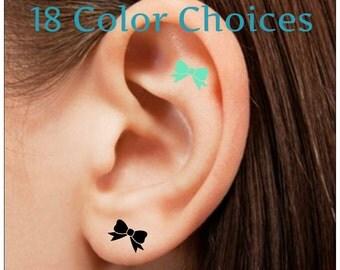 Temporary Tattoo 8 Bow Ear Tattoos Waterproof Thin Durable Tattoos