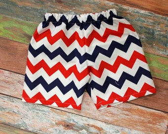 July 4th Boys Red, White and Blue Chevron Shorts,Patriotic Boys Shorts,Shorts,Pants,Fabric Choice