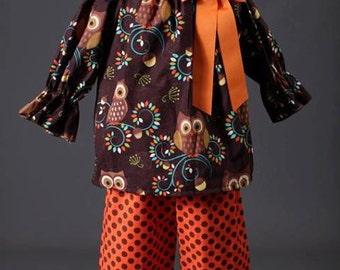 Owl Peasant Pant Set with Orange Ribbon Bow,Thanksgiving Pant Set