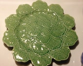 """Bordallo Pinheiro Portugal Majolica 13 """" Geranium Design Chop Plate Vintage Rare Portugal"""