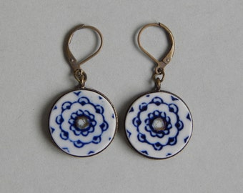 Recycled China Earrings Upcycled Handmade Jewelry Gold Blue and White Earrings Dangling on leverback findings