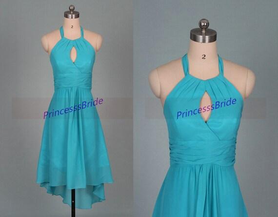 Cheap short sage chiffon bridesmaid dresseshigh low halter for Short cheap wedding dresses under 100