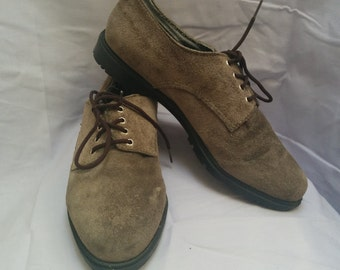 90's Suede Loafers, Lace Up Flats. US 7