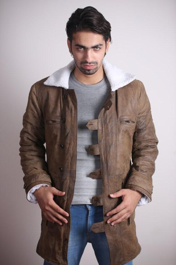 Men's Leather Jacket/Coat Trench Coat - 'BANE' Dark Knight Rises Vintage Leather Coat/Jacket