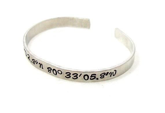 coordinates bracelet cuff custom bracelet cuff personalized