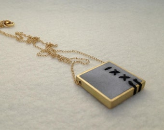 Square Gold Pendant, Long Gold Pendant Necklace, Embroidery Necklace
