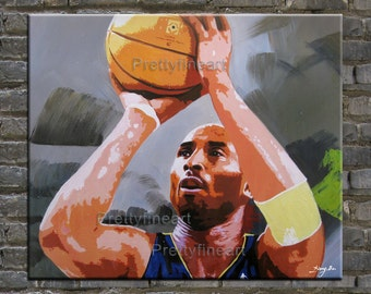 original painting,portrait painting Kobe Bryant,modern canvas painting for home decor,framed,ready to hang