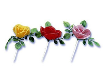 24 plastic Rose Cupcake Picks Cake Toppers Party Supplies Flower