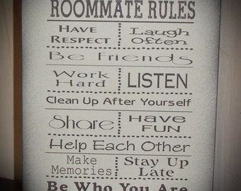 Roommate Rules - Great for Dorm Room at College or Apartment Wood Sign