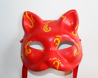 Cat Mask red with yellow diamonds and swirls