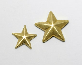 Brass Star Embellishment,Small Star or Mini Star Stamping, Qty of 10 per set, Made in the USA