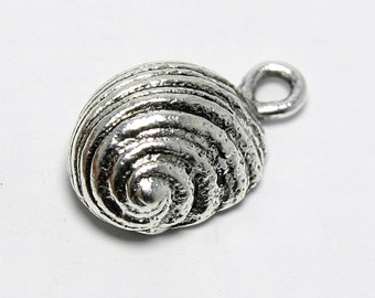 """Pewter Snail Charm, Antiqued Silver Plated Snail Pendant, 5/8"""", Made in USA, #N147"""