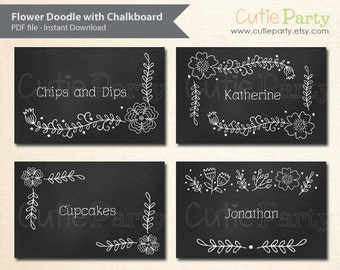Editable Party Printable, Chalkboard Tent Card with Flower Doodle, instant download, editable label, editable food label