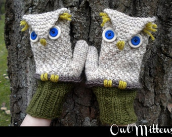 Owl Mittens for the Family Knitting Pattern