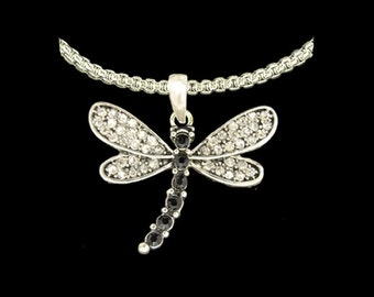 Dragonfly Rhinestone Necklace