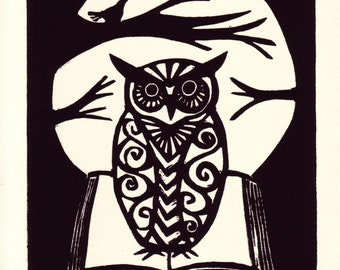 Owl with Book linocut print