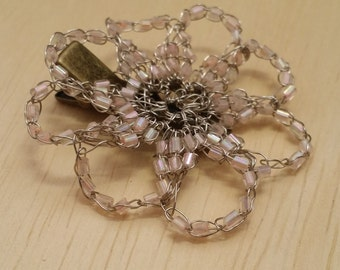 Floreto  - Metal Lace - Crocheted Wire - Beaded Hair Clip/Brooch