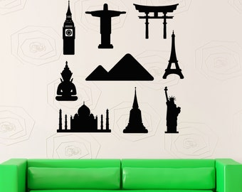 Wall Stickers Vinyl Decal Travel Summer Vacation Famous Places (z2034)