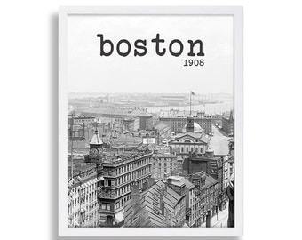 Vintage Boston Photo 1908 Historic Downtown Boston Old Photo of Boston Vintage Photography Black and White Photo Home Wall Art Design Print
