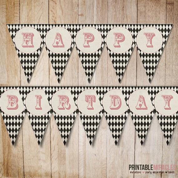 Printable Vintage Birthday Banner ~ Items similar to printable circus birthday party banner