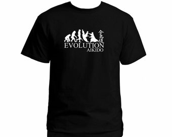 Aikido evolution  t-shirt Matial arts black color customized silk printed graphic