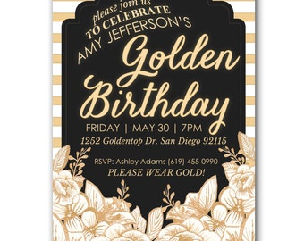 Golden Birthday Party Invitation - Party Invite customized and personalized - digital file