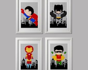 Superhero Wall Art superhero wall art printed superhero bedroom decor