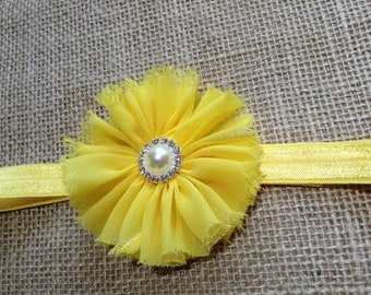 Yellow flower headband, Headband with yellow flower, Newborn headband, Headband for Toddler, Girls Headband, Flower headband