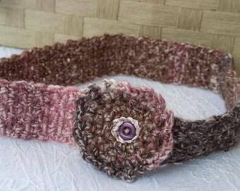 Headband, serre-tête romantique, shaby, pure laine crochetée mains, bande extensible taille unique