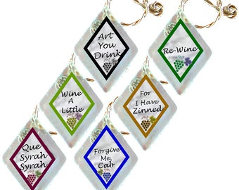 "Wine Glass Charms ""Que Syrah, Syrah"" from rescued, repurposed window glass~When you don't want to share, mark your glass!"