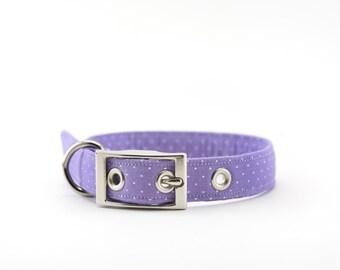 Purple White Dot Dog Collar/ Metal Buckle Dog Collar/ Pin Buckle Dog Collar