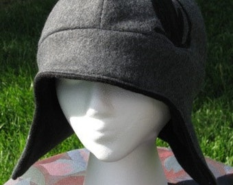 Damask Cat Gray and Black Fleece Ear Flap Hat