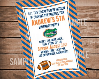 Florida Gators Football Birthday Invitation