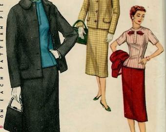 Vintage 1950's 3 Piece Suit Jacket Skirt Overblouse Pattern Simplicity 1321 sz 14 1/2 - Uncut